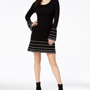 Bar III | Striped Bell Sleeve Sweater Dress